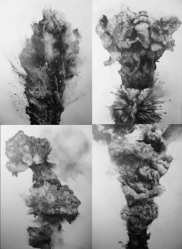 'Thin Air' Drawings of military explosions from the top of Google Image search 2015- present