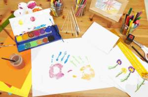 selection of art materials on a table