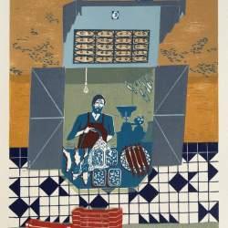Fishmonger in Medina unframed lino print by Helen Murgatroyd
