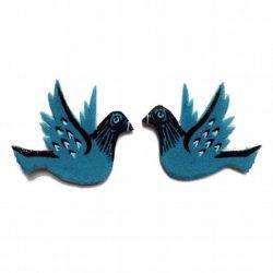 Blue Flying Mini Pigeon Ear Studs