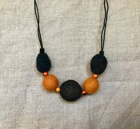 Kathy Badcock - Handfelted bead necklace, orange and black.