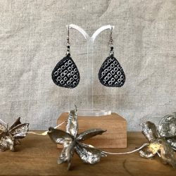 Kathy Badcock - Monochrome textile earrings.