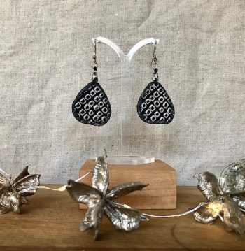 Kathy Badcock - Monochrome textile earrings.