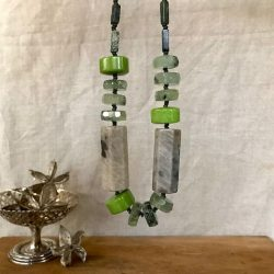 Melissa James - Necklace - green fossil stone, prehenite and serpentine