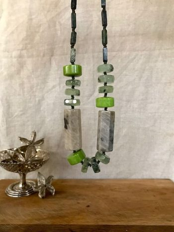 Melissa James - Necklace - green fossil stone, prehenite and serpentine