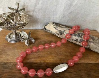 Melissa James - Necklace - rose quartz pod necklace