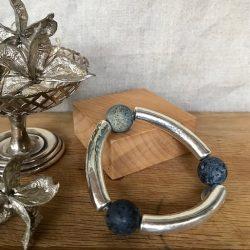 Melissa James - Silvered ceramic tube bracelet with grey blue