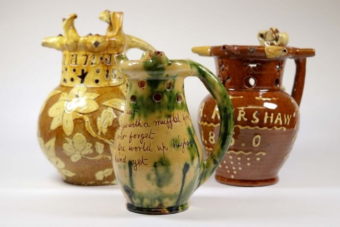 A selection of puzzle jugs as part of the folk art exhibition