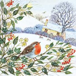 Winter Cottage & Robin - Christmas Cards- 5 pack